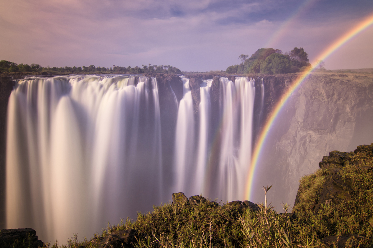 A rainbow at the Victoria Falls